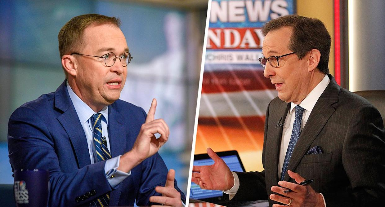 Acting White House chief of staff Mick Mulvaney, left, and Fox News host Chris Wallace. (Photos: William B. Plowman/NBC/NBC NewsWire via Getty Images; Paul Morigi/Getty Images)