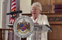 """FILE - In this July 29, 2020 file photo, Alabama Gov. Kay Ivey speaks during a news conference in Montgomery, Ala. Republicans balked when Democrats passed President Joe Biden's $1.9 trillion coronavirus relief package, calling it liberal """"pet projects"""" disguised as pandemic aid. But now that GOP governors and local leaders have the money in hand, they're using it for things on their wish lists, too. Alabama lawmakers are advancing a plan to use $400 million of the state's share of coronavirus relief funds toward building new prisons in what Ivey says is a great deal for taxpayers. (AP Photo/Kim Chandler, File)"""