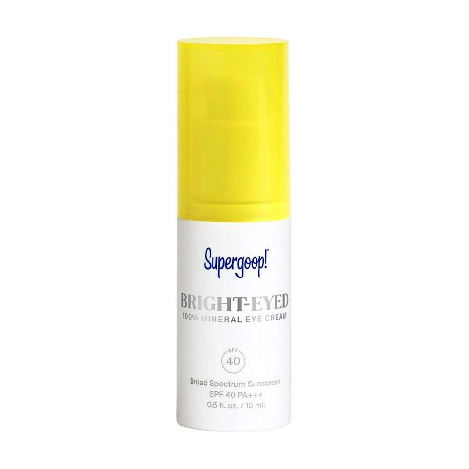 """Rabach incorporates Supergoop's Bright-Eyed 100% Mineral Eye Cream SPF 40 into her routine. """"It contains only mineral sunscreen, which is much gentler and less irritating on thin eye skin, and it also contains caffeine, so it helps reduce dark undereye circles."""" While a full face of some mineral sunscreens tend to leave a white cast on darker skin tones, it can actually create a brightening effect when used on the eye area."""