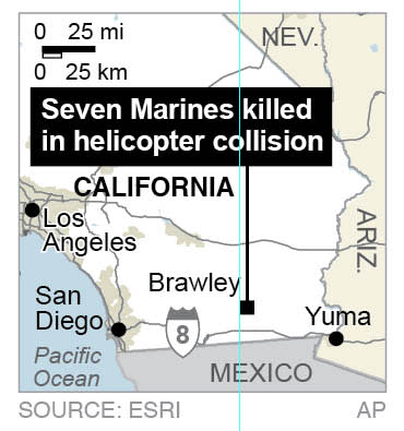 Map locates Brawley, California, where two military helicopters collided killing 7 marines.