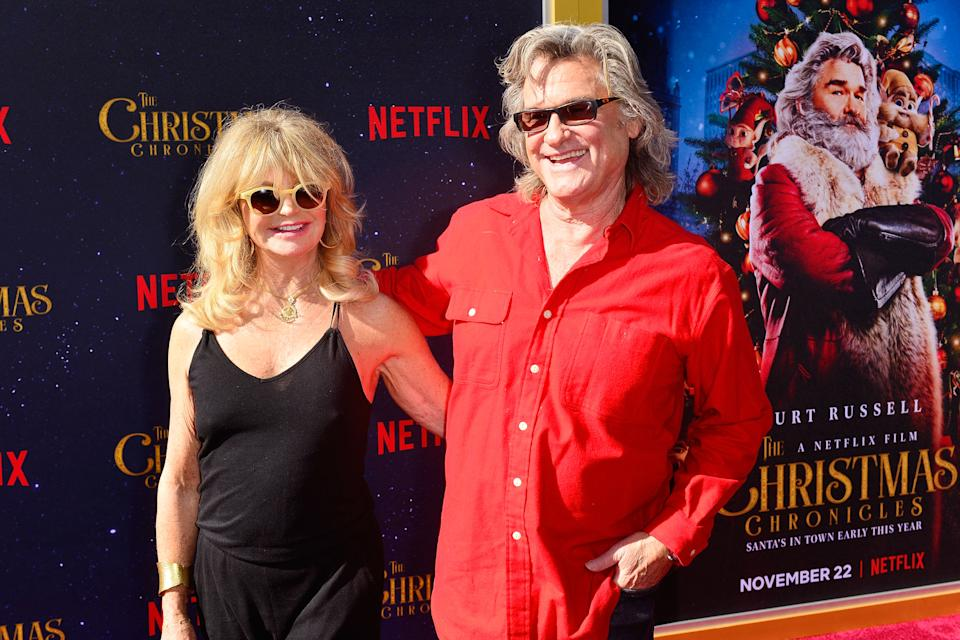 Goldie Hawn and Kurt Russell arrive at the Premiere of Netflix's 'The Christmas Chronicles' at Fox Bruin Theater on November 18, 2018 in Los Angeles, California.  (Photo by Jerod Harris/FilmMagic,)