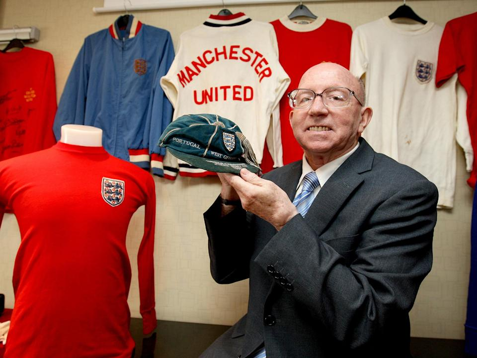 <p>Nobby Stiles with his World Cup cap in 2010</p>PA