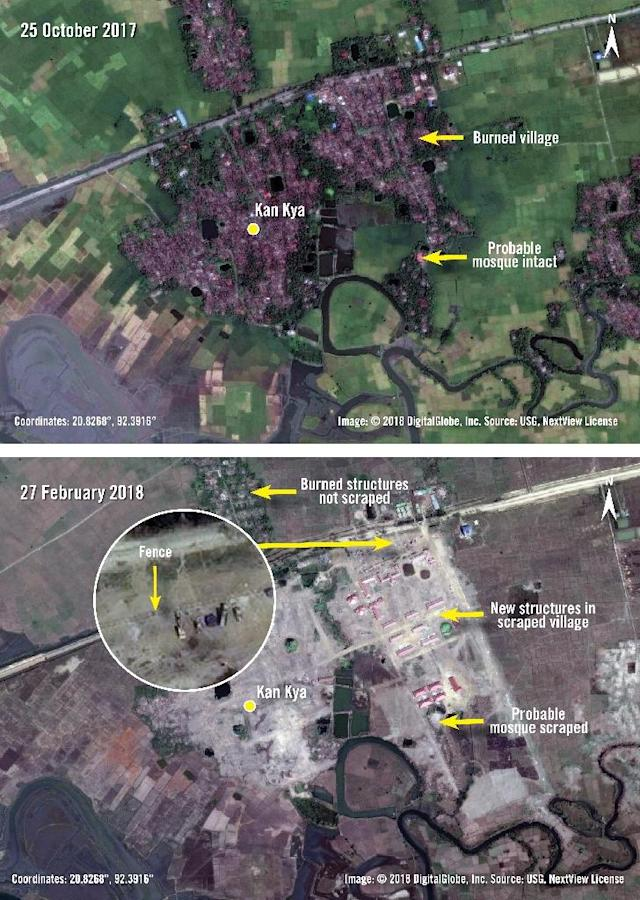 Before and after photographs released by Amnesty International and DigitalGlobe taken on October 25, 2017 and February 27, 2018 of new structures and fencing built over the previously burnt village of Kan Kya in Myanmar's Rakhine State (AFP Photo/Handout)