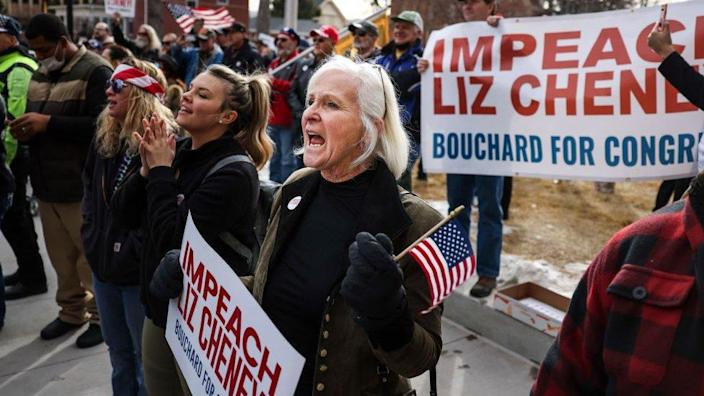People cheer when Congressman Matt Gaetz speaks to the crowd at a rally with Liz Cheney in Wyoming on January 28th.