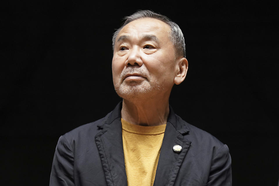 Japanese novelist Haruki Murakami poses for media during a press conference on the university's new international house of literature as known as The Haruki Murakami Library at the Waseda University Wednesday, Sept. 22, 2021, in Tokyo. (AP Photo/Eugene Hoshiko)