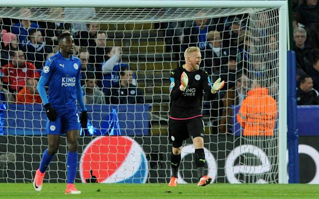 <span>Still in this: Kasper Schmeichel was among the players who refused to let heads drop among fans or team when Leicester went 0-1 down</span> <span>Credit: AP </span>