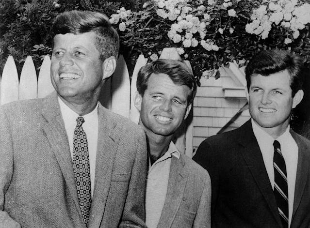 <p>John F. Kennedy, Robert Kennedy and Edward Kennedy are shown in Hyannis Port, Mass., July 20, 1960. (Photo: Bettmann Archive/Getty Images) </p>