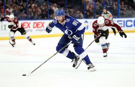 Dec 8, 2018; Tampa, FL, USA; Tampa Bay Lightning center Steven Stamkos (91) skates and scores a goal against the Colorado Avalanche during the first period at Amalie Arena. Kim Klement-USA TODAY Sports