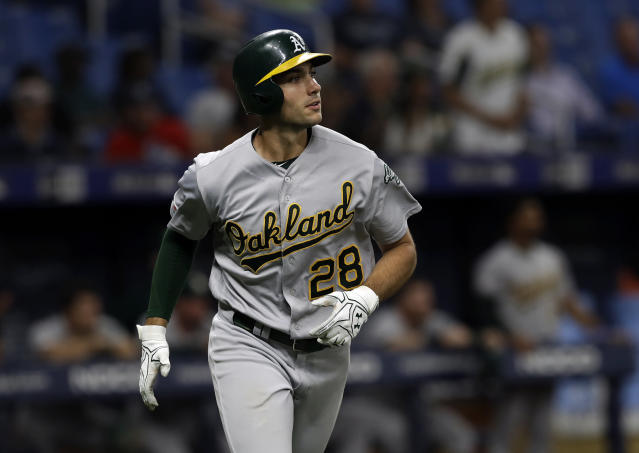 Oakland Athletics' Matt Olson watches his two-run home run off Tampa Bay Rays relief pitcher Emilio Pagan during the sixth inning of a baseball game Tuesday, June 11, 2019, in St. Petersburg, Fla. (AP Photo/Chris O'Meara)