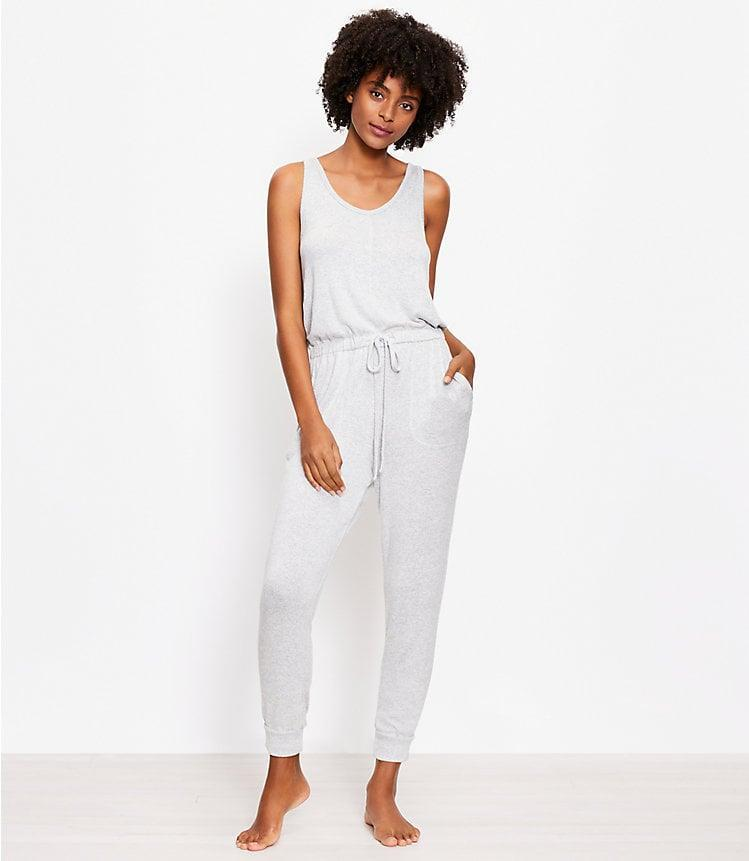 <p>This cozy <span>Heathered Pajama Romper</span> ($70) is a perfect loungewear find. </p>