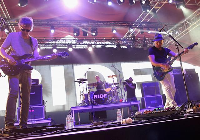 The reunited Ride at Coachella in 2015. (Photo: Karl Walter/Getty Images for Coachella)