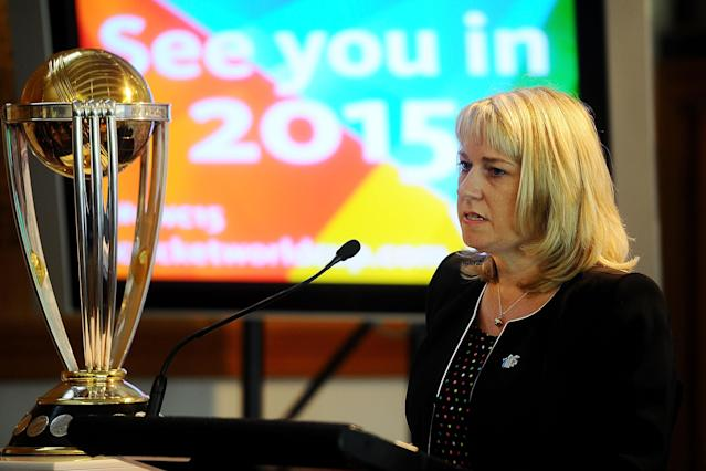 "WELLINGTON, NEW ZEALAND - FEBRUARY 14: Therese Walsh, head of New Zealand's 2015 Cricket World Cup operation, speaks at the ICC Cricket World Cup ""One Year To Go"" on February 14, 2014 in Wellington, New Zealand. (Photo by Mark Tantrum/Getty Images)"