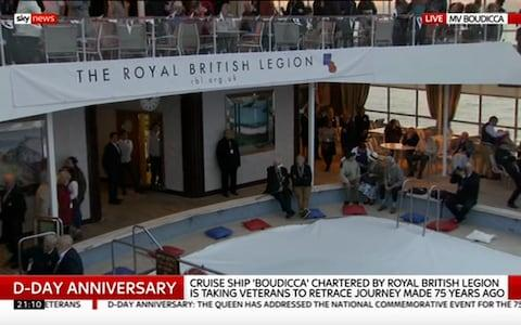 <span>Some 300 veterans are on board the ship</span> <span>Credit: Sky News </span>