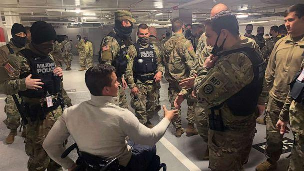 PHOTO: Rep. Madison Cawthorn posted images from his visit with National Guard troops resting in a parking garage near the U.S. Capitol, Jan. 21, 2021. (CawthornforNC/Twitter)