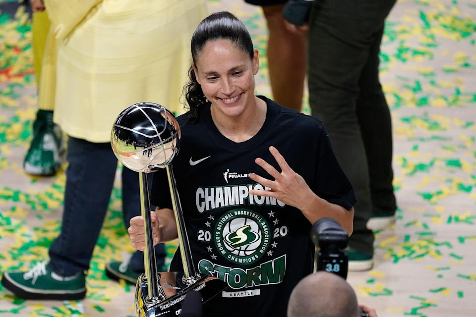 Sue Bird won four WNBA titles with the Seattle Storm after winning two NCAA titles with UConn.