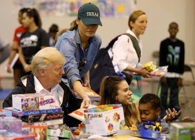<p>President Donald Trump and first lady Melania Trump visit with flood survivors of Hurricane Harvey at a relief center in Houston, Texas, Sept. 2, 2017. (Photo: Kevin Lamarque/Reuters) </p>