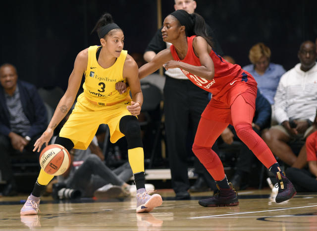 "<a class=""link rapid-noclick-resp"" href=""/wnba/teams/los"" data-ylk=""slk:Los Angeles Sparks"">Los Angeles Sparks</a> forward <a class=""link rapid-noclick-resp"" href=""/wnba/players/4395/"" data-ylk=""slk:Candace Parker"">Candace Parker</a> (L) dribbles against <a class=""link rapid-noclick-resp"" href=""/wnba/teams/was"" data-ylk=""slk:Washington Mystics"">Washington Mystics</a> forward <a class=""link rapid-noclick-resp"" href=""/wnba/players/4407/"" data-ylk=""slk:LaToya Sanders"">LaToya Sanders</a> (R) in the first half of a single elimination WNBA basketball playoff game, Thursday, Aug. 23, 2018, in Washington. (AP Photo)"