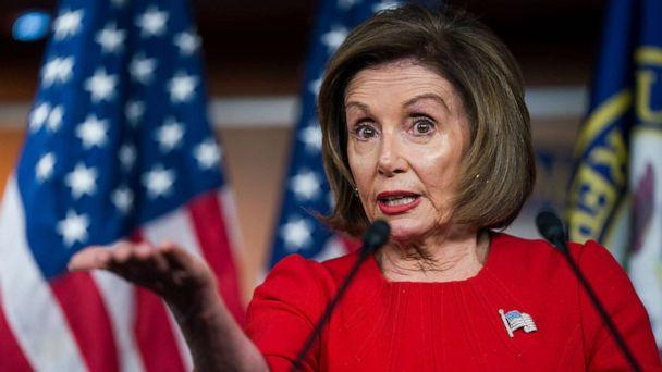 PHOTO: Speaker of the House Nancy Pelosi speaks to the media about the impeachment inquiry into President Donald J. Trump, on Capitol Hill in Washington, DC, Nov. 14, 2019. (Jim Lo Scalzo/EPA via Shutterstock)