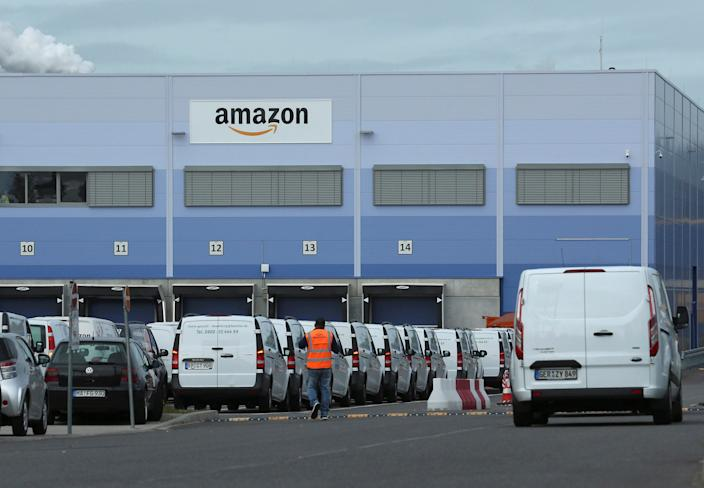 An outside view of an Amazon logistics centre in Mannheim, Germany, September 17, 2019. REUTERS/Ralph Orlowski