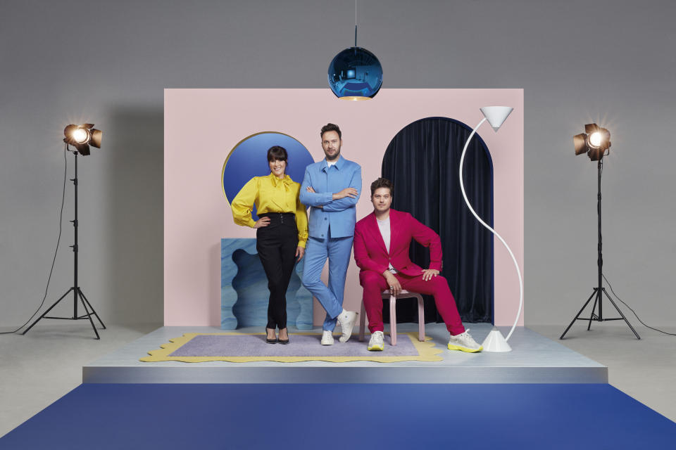 Anna Richardson and 2LG Jordan Cluroe and Russell Whitehead within a set showing their minimalist design style for Changing Rooms on Channel 4