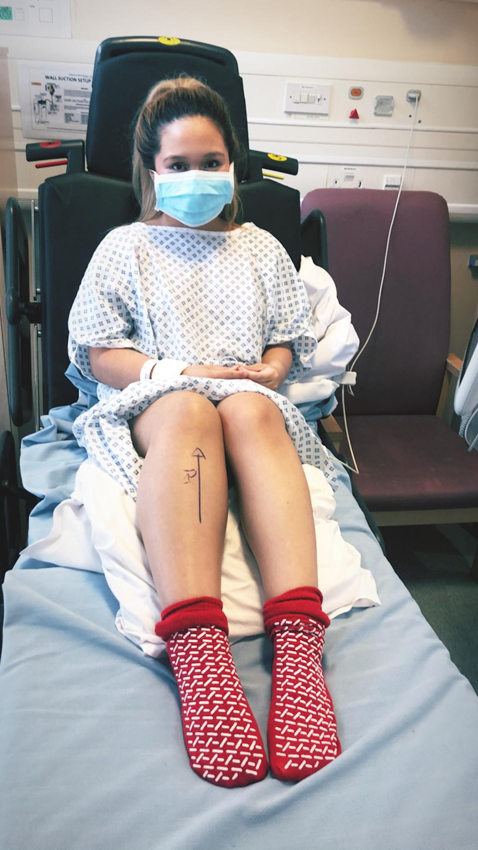 The nurse was diagnosed in April and had her leg removed below the knee in May. (Caters)