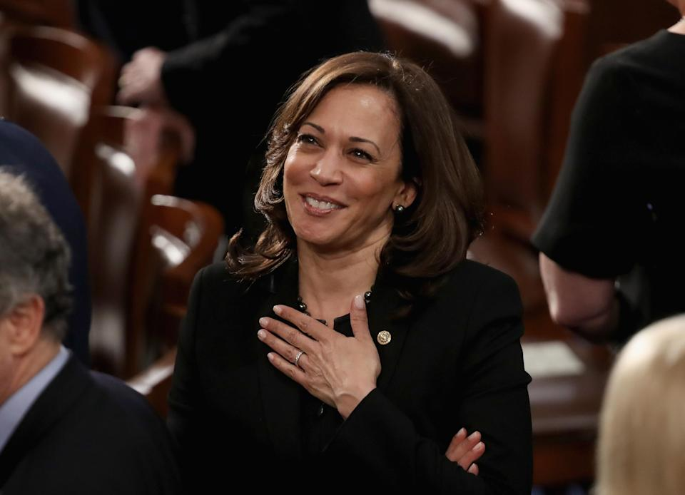 California Sen. Kamala Harris didn't participate in the all-white dress code at President Trump's 2019 State of the Union address. (Photo: Getty Images)
