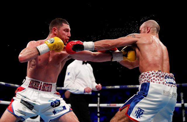 Boxing - Sean Dodd v Tommy Coyle - Commonwealth Lightweight Title - Echo Arena, Liverpool, Britain - April 21, 2018 Sean Dodd in action with Tommy Coyle Action Images via Reuters/Andrew Couldridge