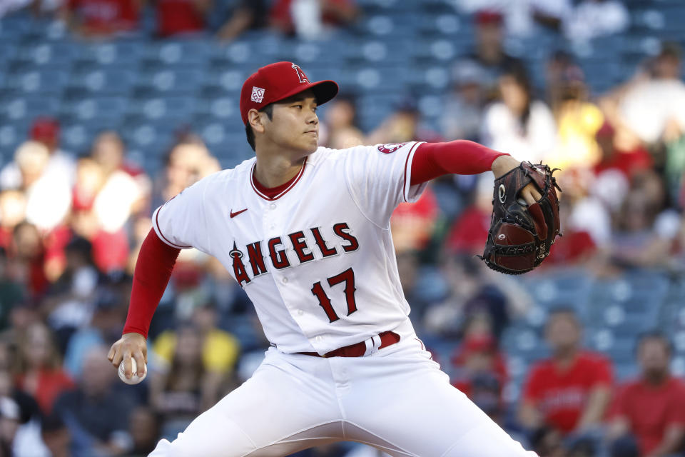 ANAHEIM, CALIFORNIA - JULY 06: Shohei Ohtani #17 of the Los Angeles Angels pitches against the Boston Red Sox during the first inning at Angel Stadium of Anaheim on July 06, 2021 in Anaheim, California. (Photo by Michael Owens/Getty Images)
