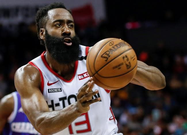James Harden, cleared to play, makes Disney practice debut