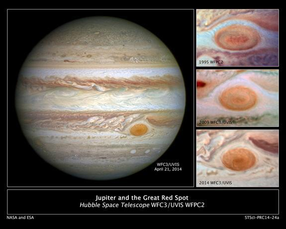 Jupiter's trademark Great Red Spot — a swirling anticyclonic storm feature larger than Earth — has shrunken to the smallest size ever measured. Astronomers have followed this downsizing since the 1930s. Image released May 15, 2014.