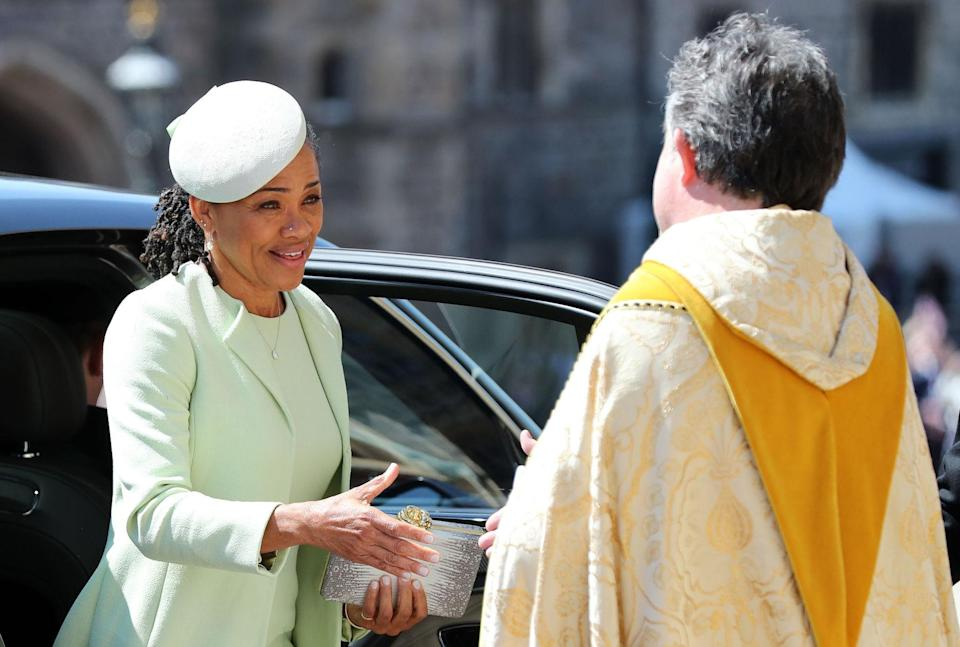 Doria Ragland arrives at St George's Chapel at Windsor Castle to see her daughter wed. (PA)
