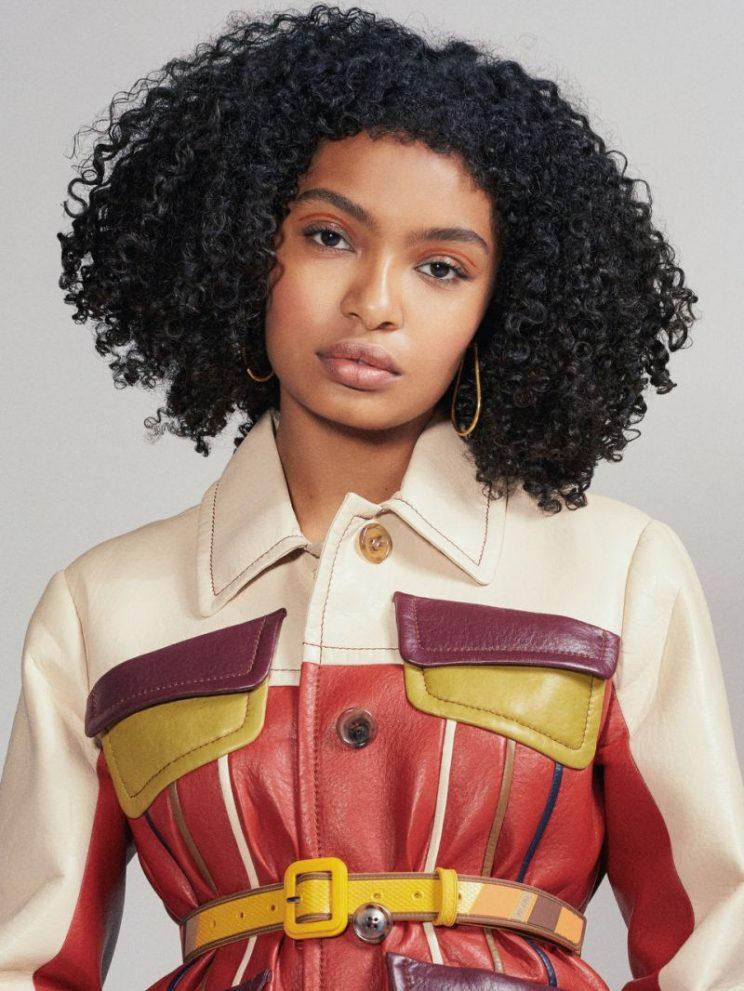 Yara Shahidi wears a paneled leather jacket and belt, both by Prada. (Photo: Christine Hahn; styling by Christopher Kim)