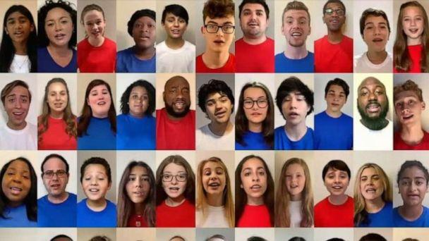 PHOTO: A diverse choir virtually sang the national anthem during the first night of the Democratic National Convention, on Aug. 17, 2020. (ABC News)