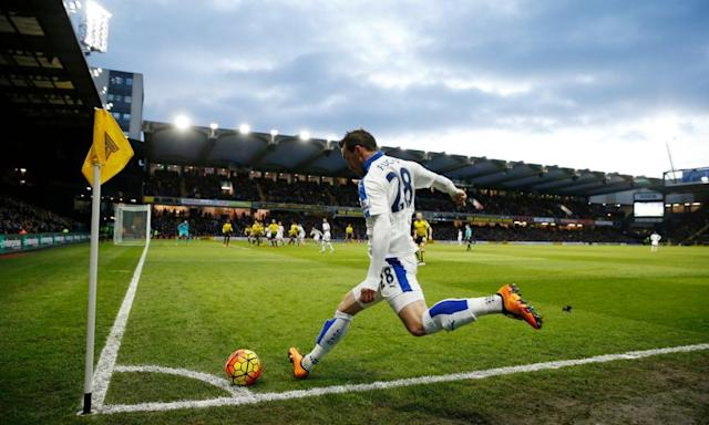 "<span class=""element-image__caption"">Leicester's Christian Fuchs takes a corner at Vicarage Road where, seen from this angle, his delivery needs to be extremely accurate in order to be dangerous.</span> <span class=""element-image__credit"">Photograph: John Sibley/Reuters</span>"