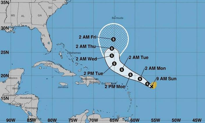The 8 a.m. Sunday conical projection for Tropical Storm Peter