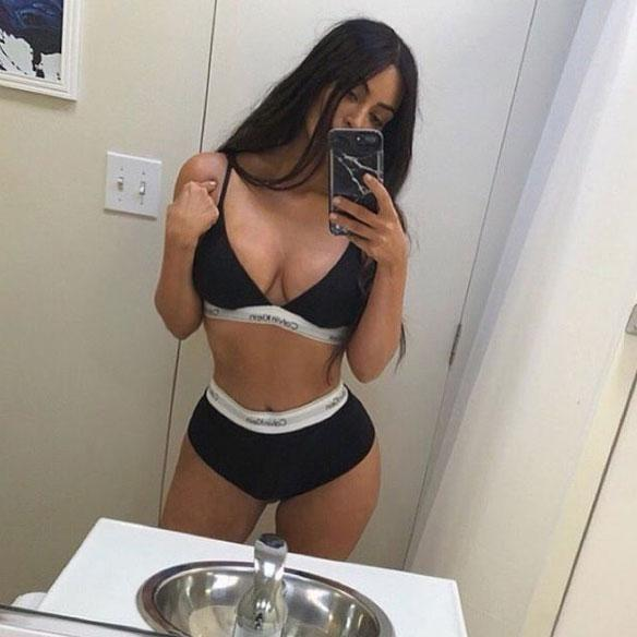 She's the queen of selfies, but something didn't sit quite right with Kim Kardashian's fans when she posted a lingerie snap this week. Source: Instagram/kimkardashian