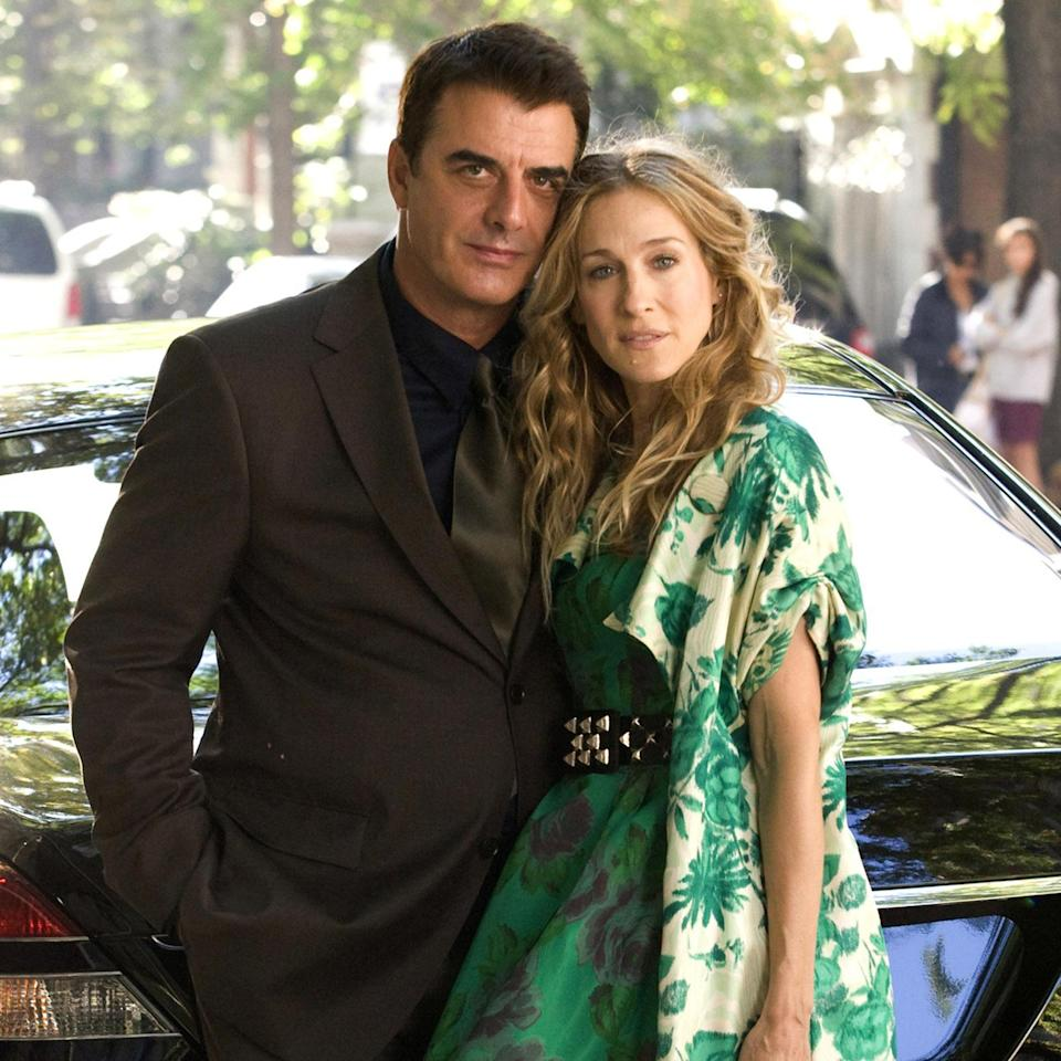 Chris Noth and Sarah Jessica Parker on the set of
