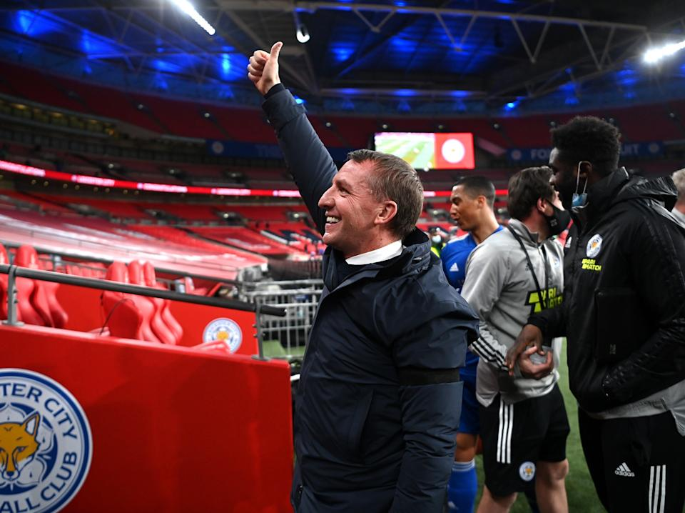 Brendan Rodgers celebrates after winning the FA Cup semi-final (The FA via Getty Images)