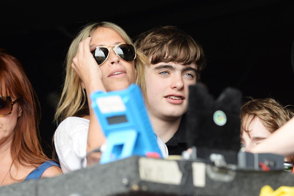Nicole Appleton and Gene Gallagher watch Beady Eye perform at day 2 of the 2013 Glastonbury Festival at Worthy Farm on June 28, 2013 in Glastonbury, England.  (Photo by Dave J Hogan/Getty Images)