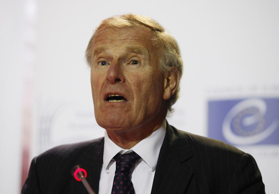 KIEV, UKRAINE - OCTOBER 27: President of the Parliamentary Assembly of the Council of Europe (PACE) Christopher Chope delivers a speech during a press conference in Kiev, Ukraine, on October 27, 2014. (Photo by Vladimir Shtanko/Anadolu Agency/Getty Images)