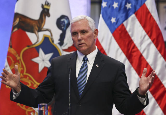 <p> In this Aug. 16, 2017 photo, Vice President Mike Pence takes part in a joint statement with the Chilean president at La Moneda government palace, in Santiago, Chile. The day after President Donald Trump sparred with reporters on live television over assigning blame for violence at a white supremacist rally, White House aides were stunned, advisers were whispering their frustrations, business allies were cutting public ties with the White House and Trump was out of sight. But Vice President Mike Pence was on message. At a press conference 5,000 miles away in Santiago, Chile, Pence offered a robust defense of the president, while neither endorsing nor denouncing his words. (AP Photo/Esteban Felix) </p>