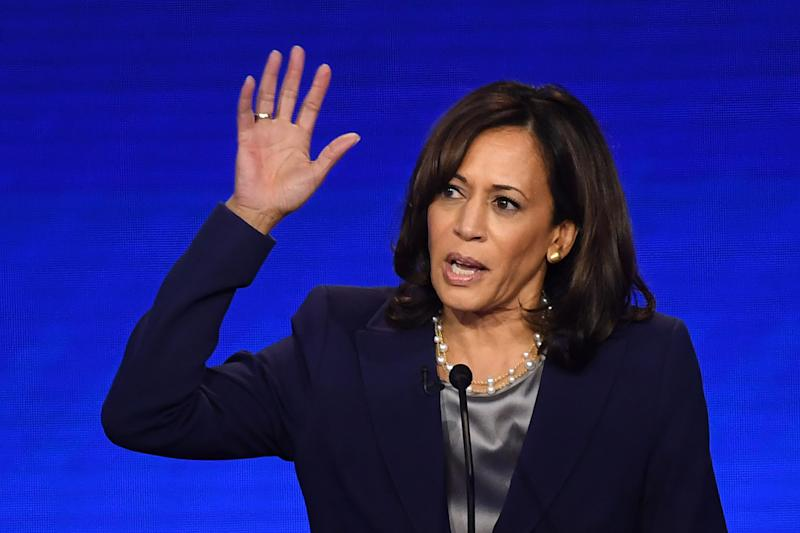 Democratic presidential hopeful California Senator Kamala Harris speaks during the third Democratic primary debate of the 2020 presidential campaign season hosted by ABC News in partnership with Univision at Texas Southern University in Houston, Texas on September 12, 2019. (Photo: Robyn Beck/AFP/Getty Images)