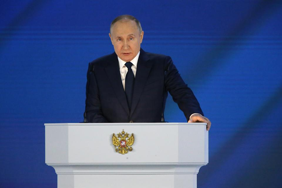 MOSCOW, RUSSIA - APRIL, 21 (RUSSIA OUT): Russian President Vladimir Putin delivers his annual address to the Federal Assembly, on April,21,2021, in Moscow, Russia. President Vladimir Putin delivered his 17th state-of-the nation speech on Wednesday. (Photo by Konstantin Zavrazhin/Getty Images)