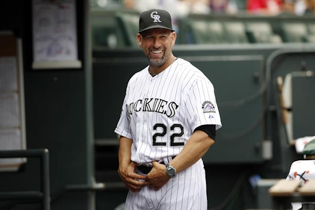 FILE - This June 30, 2013, file photo shows Colorado Rockies manager Walt Weiss before facing the San Francisco Giants in a baseball game in Denver. Rockies liked what manager Weiss did with a banged-up team in his rookie season as manager and rewarded him with a three-year contract on Tuesday, Oct. 15. (AP Photo/David Zalubowski, File)
