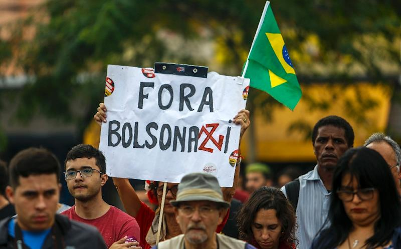 People take part in a demonstration in support of public education following a raft of budget cuts announced by President Jair Bolsonaro's government, in Sao Paulo, Brazil, on May 30, 2019 (AFP Photo/Miguel SCHINCARIOL)