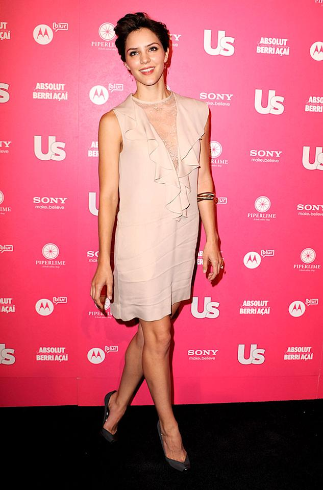 """Katharine McPhee struck a pose in a rather wrinkled Stella McCartney number. The """"Idol"""" alum -- who dyed her hair platinum blonde last August for her album <i>Unbroken</i> -- has gone back to brunette for her role in a NBC comedy pilot entitled """"The Pink House."""" Steve Granitz/<a href=""""http://www.wireimage.com"""" target=""""new"""">WireImage.com</a> - April 22, 2010"""