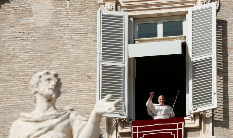 Pope Francis leads the Angelus prayer at the Vatican