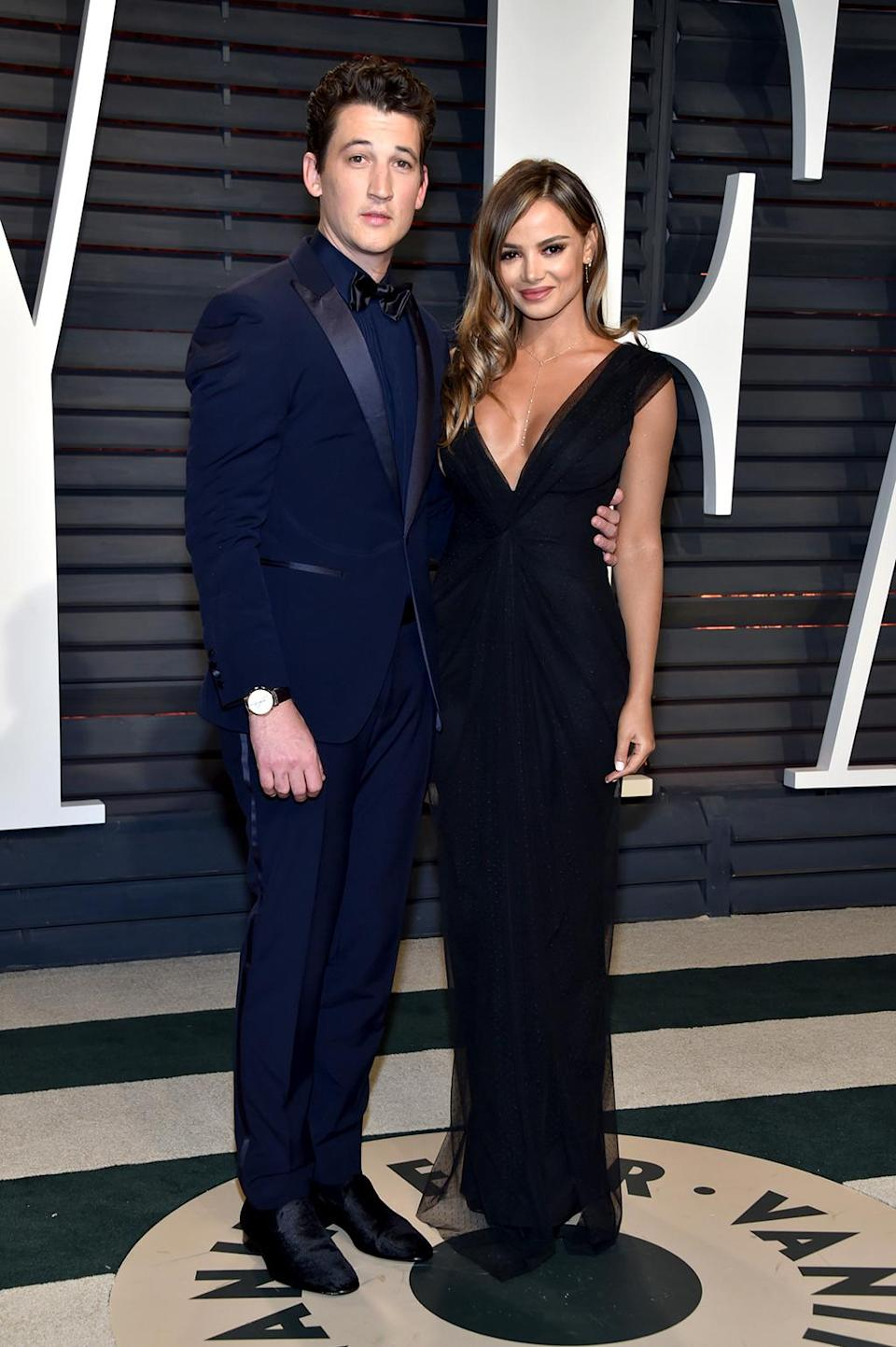 <p>Miles Teller and Keleigh Sperry attend the 2017 Vanity Fair Oscar Party hosted by Graydon Carter at Wallis Annenberg Center for the Performing Arts on February 26, 2017 in Beverly Hills, California. (Photo by Pascal Le Segretain/Getty Images) </p>