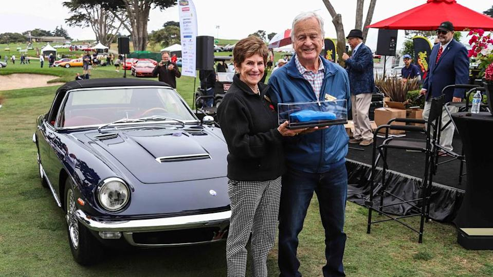 Bobbie and George Andreini earn Best of Show at the 2021 Concorso Italiano for their 1965 Maserati Mistral Spider. - Credit: Photo: Courtesy of Concorso Italiano.