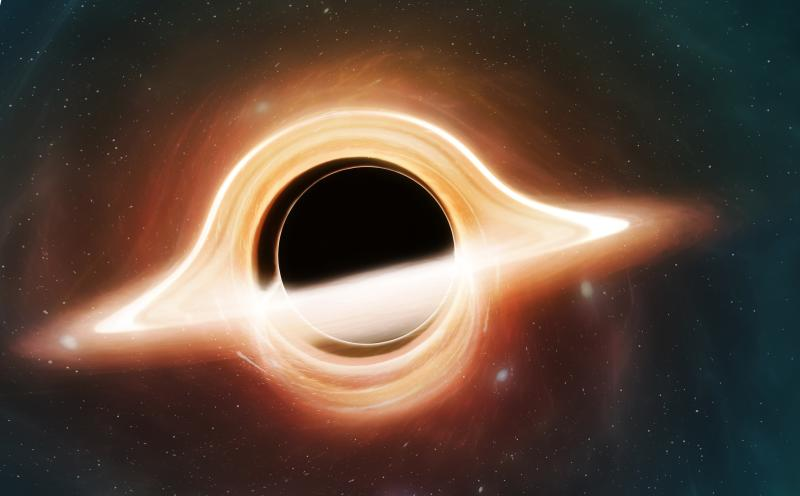 Illustration of a black hole. A black hole is a region of spacetime where the gravity is so powerful that not even light can escape them. They are created when massive stars die. This one is surrounded by an accretion disc of material, the light from which is warped by the strong gravity. Both the front of the disc and the portion behind the black hole are visible.